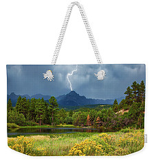Weekender Tote Bag featuring the photograph Run For Cover by Rick Furmanek