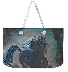 Weekender Tote Bag featuring the painting Run Horse Run by Leslie Allen
