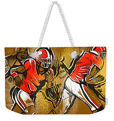Weekender Tote Bag featuring the painting Run It by John Jr Gholson