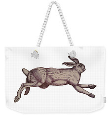 Weekender Tote Bag featuring the drawing Running Bunny Jan 27 by Donna Huntriss