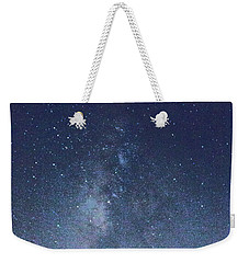Weekender Tote Bag featuring the photograph Running Dog Tree And Galaxy by Carolina Liechtenstein