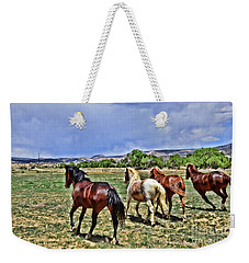Weekender Tote Bag featuring the photograph Running Free  by Debby Pueschel