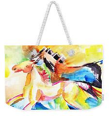 Running Horses Color Weekender Tote Bag by Carlin Blahnik