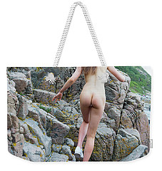 Running Nude Girl On Rocks Weekender Tote Bag