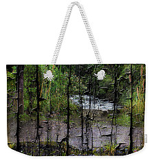 Rushing Cascade In The Andes - On Bark Weekender Tote Bag by Al Bourassa