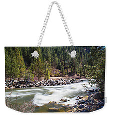 Weekender Tote Bag featuring the photograph Rushing River by Dart Humeston