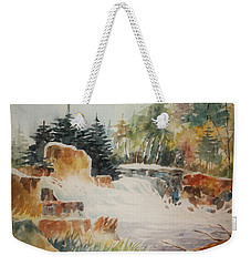 Weekender Tote Bag featuring the painting Rushing Streambed by Al Brown