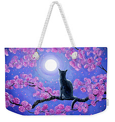 Russian Blue Cat In Pink Flowers Weekender Tote Bag by Laura Iverson