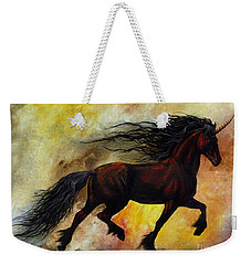 Weekender Tote Bag featuring the painting Rust Unicorn by Stanley Morrison