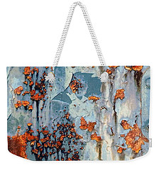 Weekender Tote Bag featuring the photograph Rusted World - Orange And Blue - Abstract by Janine Riley