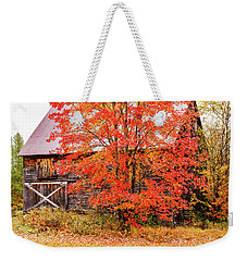 Weekender Tote Bag featuring the photograph Rustic Barn In Fall Colors by Jeff Folger