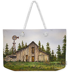 Weekender Tote Bag featuring the painting Rustic Barn by James Williamson