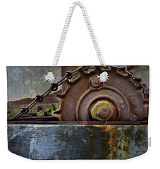 Weekender Tote Bag featuring the photograph Rustic Gear And Chain by David and Carol Kelly