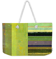 Weekender Tote Bag featuring the painting Rustic Green Flag With Stripes by Michelle Calkins