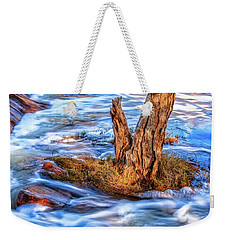 Weekender Tote Bag featuring the photograph Rustic Island, Noble Falls by Dave Catley