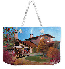 Weekender Tote Bag featuring the painting Rustic Lodge by Nancy Lee Moran