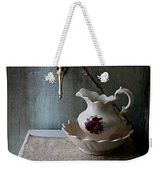 Rustic Water Closet With Brass Sconce And A Pretty Floral Patter Weekender Tote Bag