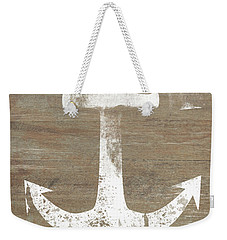 Weekender Tote Bag featuring the mixed media Rustic White Anchor- Art By Linda Woods by Linda Woods