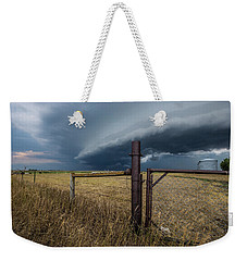 Weekender Tote Bag featuring the photograph Rusty Cage Horizontal  by Aaron J Groen