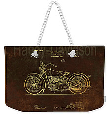 Rusty Harley - Davidson Motorcycle Patent Drawing Weekender Tote Bag