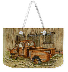 Weekender Tote Bag featuring the painting Rusty Old Ford Pickup Truck by Kelly Mills