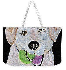Weekender Tote Bag featuring the painting Rusty On Canvas by Janice Rae Pariza
