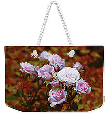 Weekender Tote Bag featuring the photograph Rusty Romance In Pink by Ivana Westin