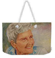 Weekender Tote Bag featuring the painting Ruth Sentelle Portrait 2 by Ron Richard Baviello