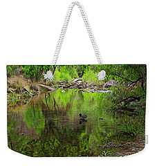 Weekender Tote Bag featuring the photograph Sabino Reflection Op53 by Mark Myhaver