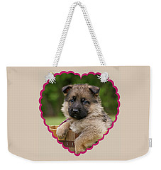Weekender Tote Bag featuring the photograph Sable Puppy In Heart by Sandy Keeton