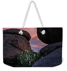 Weekender Tote Bag featuring the photograph Sacred Datura Amongst The Boulders by Gaelyn Olmsted