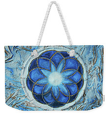 Weekender Tote Bag featuring the mixed media Sacred Geometry by Angela Stout