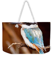 Sacred Kingfisher Weekender Tote Bag by Mike  Dawson