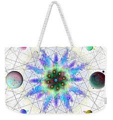 Weekender Tote Bag featuring the digital art Sacred Planetary Geometry - Blue Atom Light by Iowan Stone-Flowers