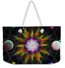 Weekender Tote Bag featuring the digital art Sacred Planetary Geometry - Dark Red Atom by Iowan Stone-Flowers