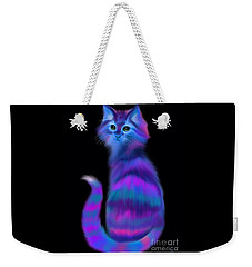 Weekender Tote Bag featuring the painting Sad Eyed Colorful Cat by Nick Gustafson