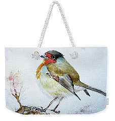 Weekender Tote Bag featuring the painting Sad Robin by Jasna Dragun