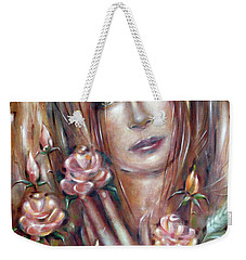 Weekender Tote Bag featuring the painting Sad Venus In A Rose Garden 060609 by Selena Boron