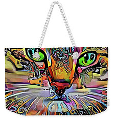 Sadie The Colorful Abstract Cat Weekender Tote Bag