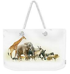 Safari Animals Walking Side Horizontal Banner Weekender Tote Bag