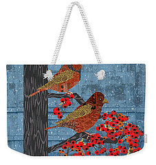 Weekender Tote Bag featuring the digital art Sagebrush Sparrow Long by Kim Prowse
