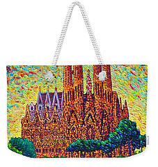 Sagrada Familia Barcelona Modern Impressionist Palette Knife Oil Painting By Ana Maria Edulescu Weekender Tote Bag