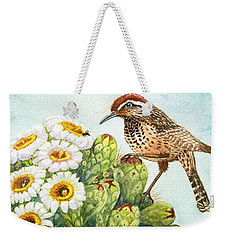 Weekender Tote Bag featuring the painting Saguaro And Cactus Wren by Marilyn Smith