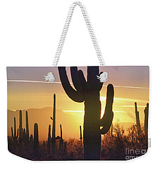 Saguaro Cactus Golden Sunset Mountain Weekender Tote Bag by Andrea Hazel Ihlefeld