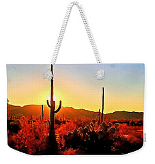 Weekender Tote Bag featuring the painting Saguaro National Park Sunset by Dr Bob Johnston