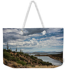 Weekender Tote Bag featuring the photograph Saguaro With A Lake View  by Saija Lehtonen