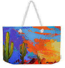 Saguaros Land Sunset By Elise Palmigiani - Square Version Weekender Tote Bag