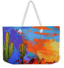Saguaros Land Sunset By Elise Palmigiani - Square Version Weekender Tote Bag