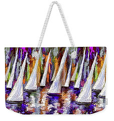 Weekender Tote Bag featuring the painting La Regata Decorative Horizontal Panorama Painting By Olena by OLena Art Brand