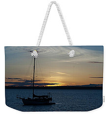 Sail Boat At Sunset Weekender Tote Bag